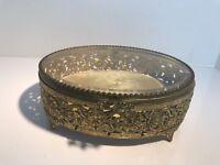 Vintage Ormolu French Style Gilt Gold Filigree Oval Jewelry Casket