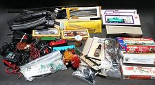 Large Lot of HO Scale Train stuff - 6 cars, lots of track, 4 transformers + misc