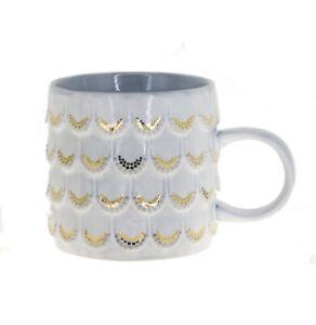Starbucks Anniversary White Gold Scales Siren Relief Ceramic Handle Mug 10oz
