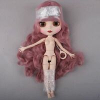"Hair Blythe / Takara Matte Wavy Curly Long New Doll Nude Joints 19 12"" Face"