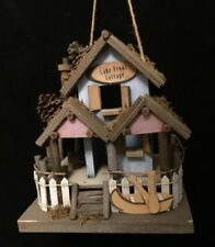 "Lake Front Cottage Wood Birdhouse Canoe & Pine Cones 9X8X6"" Rustic Decor!"