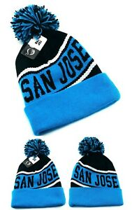 San Jose Top Pro New Beanie Cuffed Pom Sharks Black Teal Blue Era Hat Knit Cap