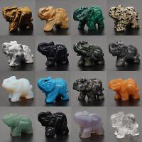 "1.5"" Natural Gemstone Crystal Chakra Healing Reiki Carved Elephant Statue Crafts"