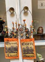 Autumn Primitive Grubby Herbs Pouch  Hanger Make Do Dried Sweet Annie Halloween