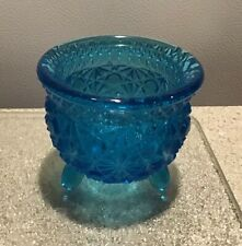 Vintage star button turquoise blue glass kettle shape footed bowl trinket holder
