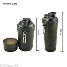 500-600ML Plastic Seal Protein Powder Shaker 3 Layers of Blender Mixer Bottle US