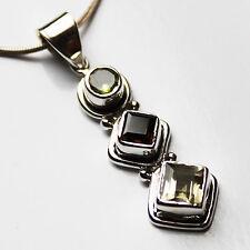 925 Sterling Silver Semi-Precious Natural Stone Pendant - Quartz & Peridot