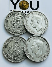 More details for 1937 to1946 king george vi one shilling sterling silver coins - choose your year