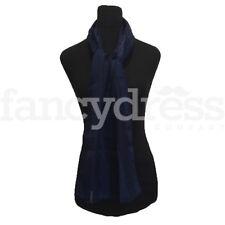 Faded Leaves Sheer Stripe Silk Silky Scarf Navy BlueShawl Wrap Headscarf NEW
