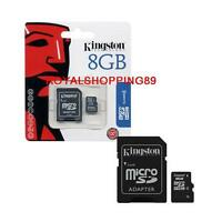 Scheda Kingston Memory Memoria Micro SD Microsd 8 gb Kingston SDHC Classe 4 AAA