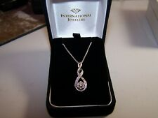 KAY JEWELERS DIAMOND CLUSTER DOUBLE INFINITY STERLING SILVER PENDANT AND CHAIN