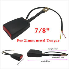 """7/8"""" Car Front Seat Belt Buckle Padding Socket Plug Connector W/Warning Cable"""