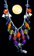 """HALLOWEEN  NECKLACE-WITCH & BATS-GLASS BEADS-22.5"""" SILVER PLATED CHAIN-# 714"""