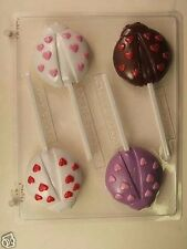 LADYBUG HEARTS LOLLIPOP CLEAR PLASTIC CHOCOLATE CANDY MOLD V237