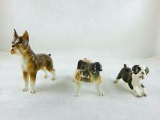 DOG FIGURINES BOSTON TERRIER, BULL DOG AND BRINDLE BOXER VINTAGE JAPAN