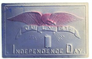 Fourth of July 4th Independence Day Embossed Bald Eagle Firecracker Postcard 1