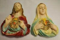 "Vtg 1940's Jesus Sacred Heart Virgin Mary Madonna Wall Chalk Ware Plaster - 7.5"""