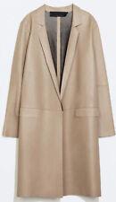 Stunning Zara Studio Lambskin Leather Camel Nude Coat Size S - M
