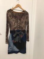 Desigual -Slim Fit Dress With Denim Patchwork Skirt  -Size Small (Slim Fit)