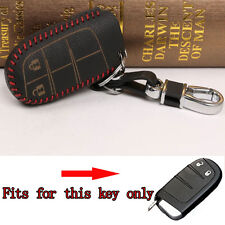 2 Buttons Red Thread Leather Smart Remote Keyfob Key Cover Case Fob For Journey