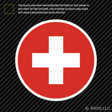 Round Swiss Flag Sticker Die Cut Decal Self Adhesive Vinyl Switzerland CHE CH