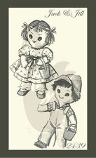 """Reproduction Vintage Jack & Jill Dolls & Clothes Sewing Pattern Approx 13"""" Tall"""