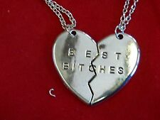 US Seller SILVER Best Bitches Best Friend BFF Heart Friendship Pendant Necklace