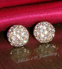 Clear Crystal Round Stud Earring/Swarovski Elements/White gold/RGE204