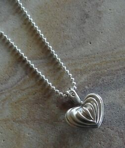 """Lagos Caviar Sterling Silver Signature Fluted Heart Pendant Chain Necklace 30"""""""