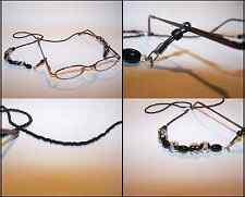 Handmade Black Clear Glass Marble Look Beads Eyeglass Lanyard Chain