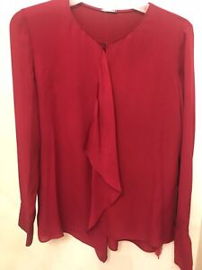 Elie Tahari Womens  Red Silk Ruffle Shirt Blouse  Size S New With Tag