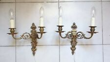 Pair Vintage French Empire Style Ornate Bronze Wall Lights / Candle Sconces