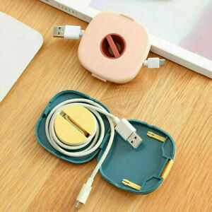2 in 1 Rotatable Earphone Winder Phone Data Cable Charging Wire Storage Box Clip