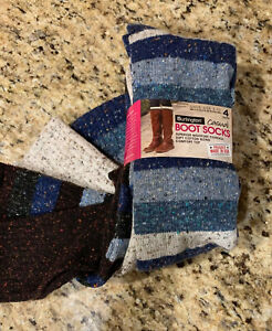NEW 4 PAIR BURLINGTON BOOT SOCKS SHOE SIZE 5-10