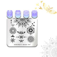 BORN PRETTY Nail Stamping Plates Square Floral Butterfly Nail Art Image Template