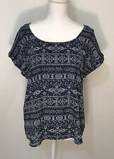 Pink Republic Women's Blouse XL Navy Aztec Style