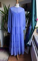 H&M Boho Wide Chiffon Dress Summer Lavender Blue Size M BNWT Bloggers Favourite