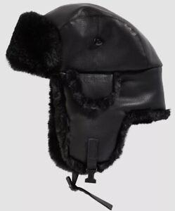 $99 Stetson Men Black Faux-Leather Faux-Fur Winter Buckle Trapper Cap Hat Size M