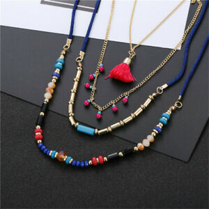 Bohemian Multi Layer Necklaces Colorful Bead Tassel Pendants Boho Beach Collar