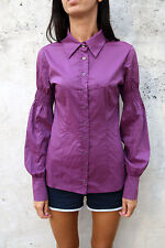 Denny Rose Womens Casual Shirt Purple Long Sleeved Stretch Italy M Medium