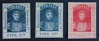 Hawaii 1853 King Kamehameha III  5¢ 5¢ 13¢  , Sc 5, 5a, 6,  Unused, REPLICA