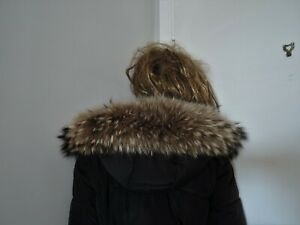 Beige brown real coyote fur collar trim strip for hood jacket parka furstrip