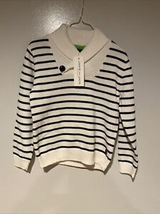 Janie And Jack Boys Sweater Size 4 White With Navy Blue Stripes NWT MSRP $54