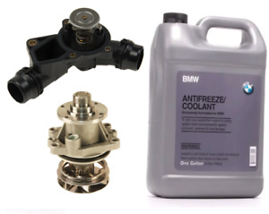 Thermostat with Housing + Water Pump + Coolant Antifreeze Service Kit for BMW