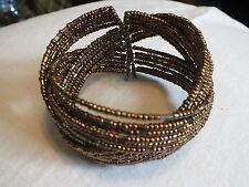 Beautiful Wrap Cuff  Bracelet Gold Brass Beads Criss Cross 1 3/4 Inch Wide NICE