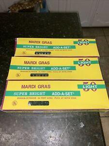 Mardi Gras Super Bright 24 Ft Long  Purple Green Gold Lights 3 Sets