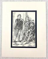 1889 Antico Stampa William Shakespeare Dodicesimo Notte The Musicisti Teatro