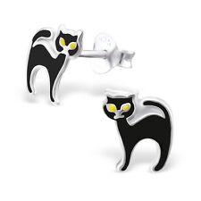 925 Sterling Silver Black Cat Stud Earrings Halloween Gothic Wiccan Tabby Cute