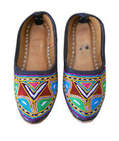 Women Shoes Indian Handmade Mojari Leather Ballerinas Boho Jutties UK 2.5 EU 35