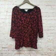 Dressbarn Womens Side Tie Blouse Sz 14/16 Red Black Top 3/4 Sleeve New